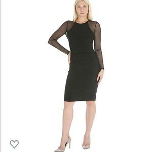 Bebe Long Sleeve Mesh Black Dress